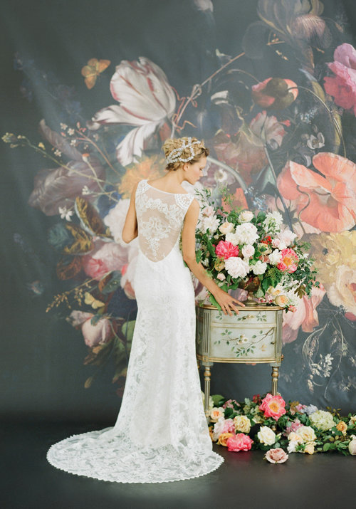 Iris by Claire Pettibone  Size 10/Ivory/Blue/Pearl  $3,300 now $1,650