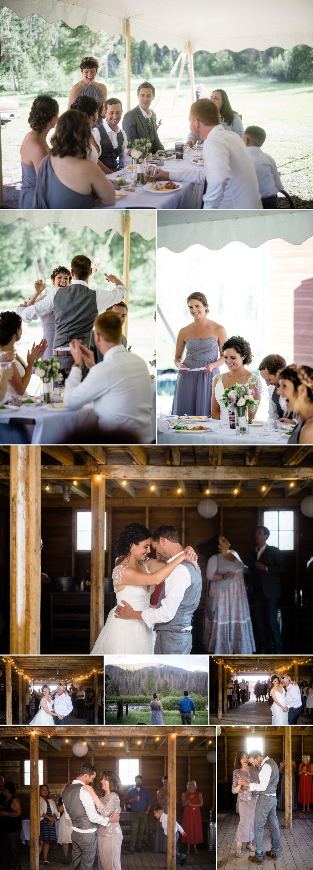 Intimate Grand Lake Wedding Reception at AA Barn