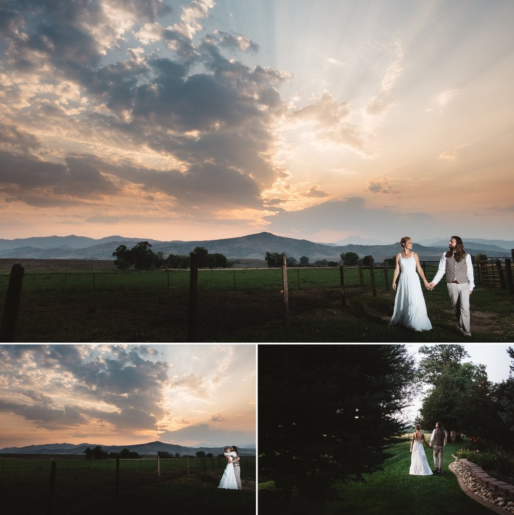Sunset photos at Schupe Homestead Wedding in Colorado