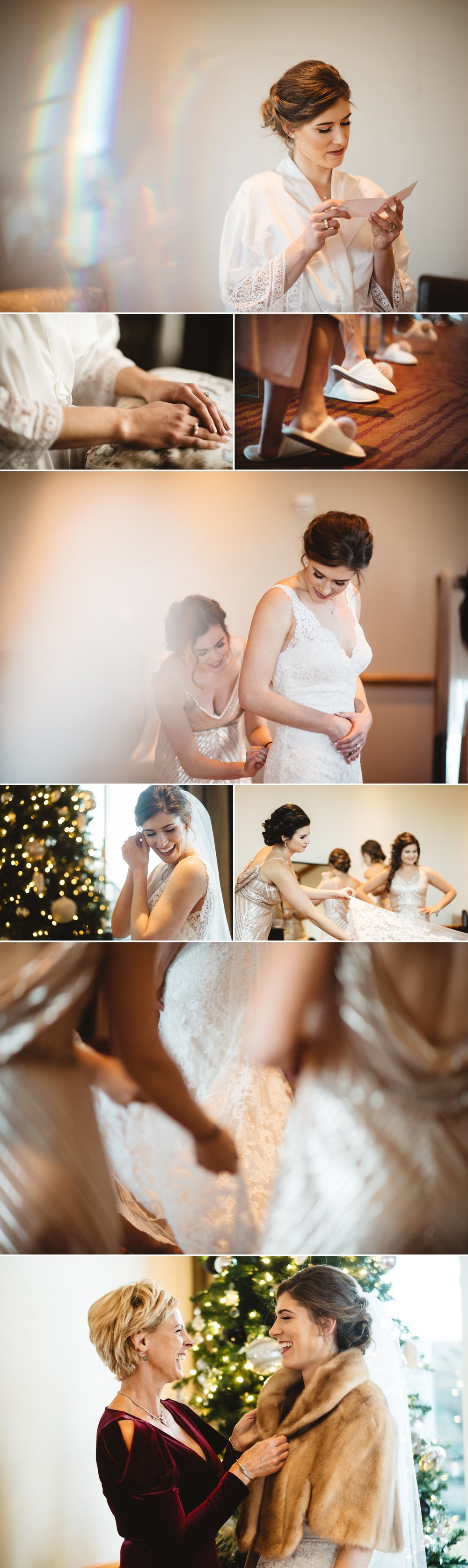 Sarah getting ready with her bridesmaids. I love the candid photo with the bride and her mom!