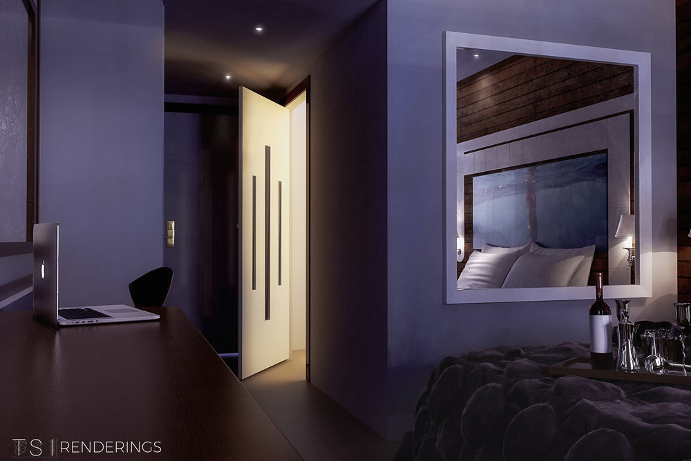 3D Rendering of a Hotel Room which displays a modern comfort setting.