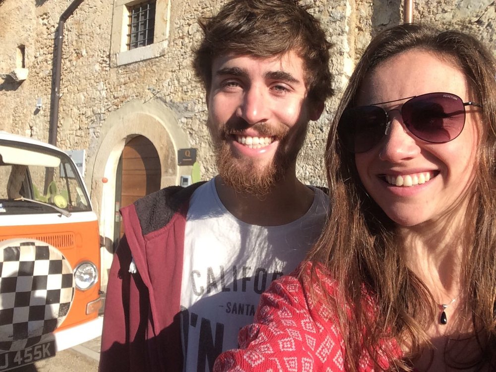 Jack and Alex with their Camper Van outside Palazzo Tronconi - photo by Jack