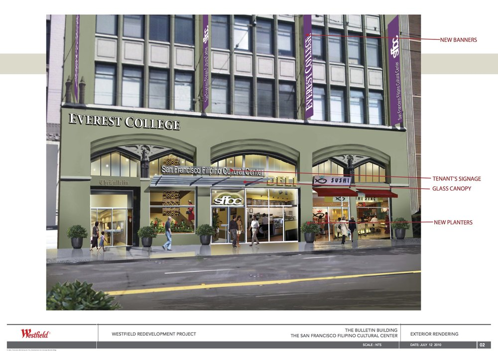 Exterior rendering of the SFFCC as part of the Westfield Redevelopment Project from July 2010