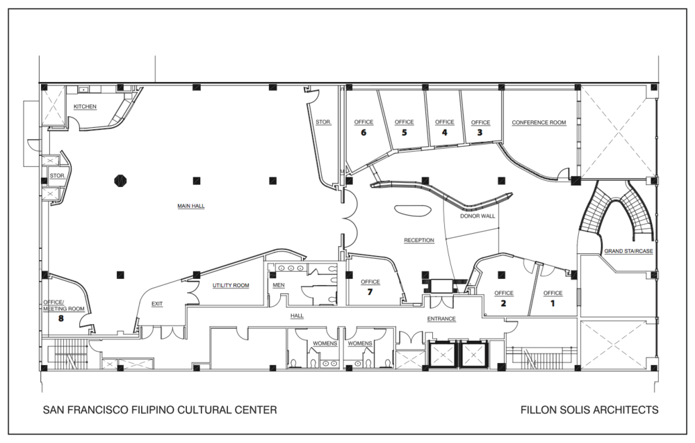 Floor plan of the San Francisco Filipino Cultural Center