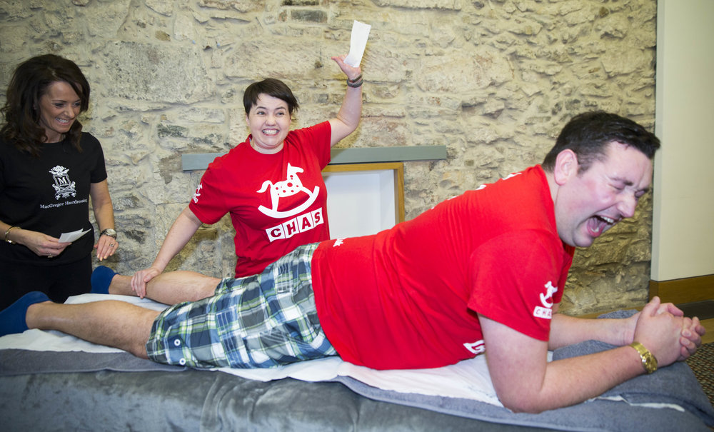 Miles' sponsored leg wax which raised over £2000 for CHAS