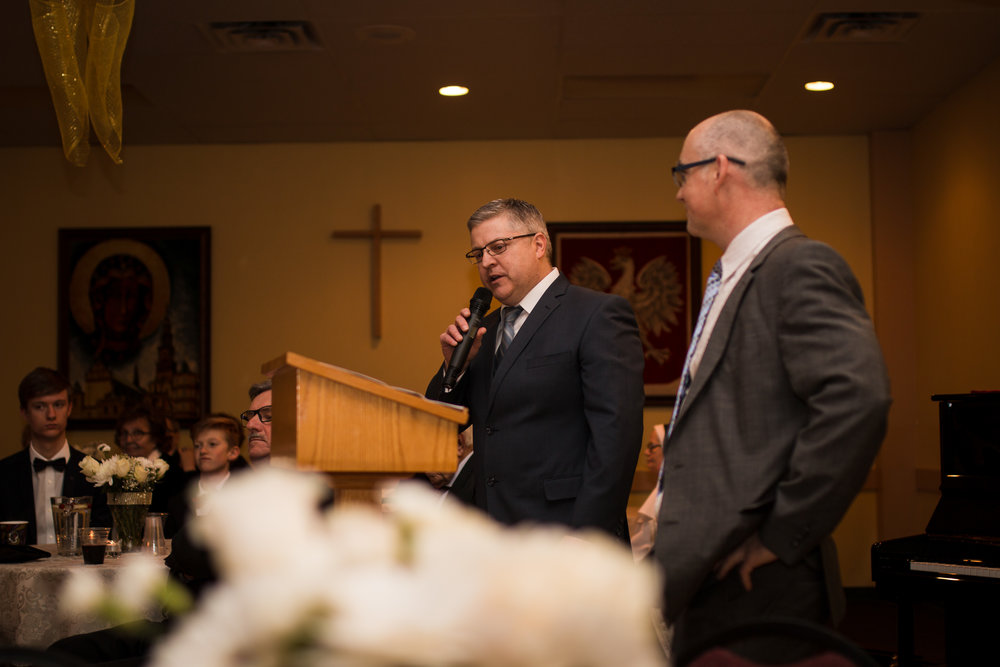 My brother-in-law Stephen and my brother Krys doing a great job as MC's in both English and Polish.
