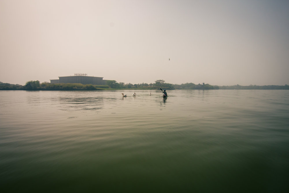 A foggy boat ride on Lake Tana in the early morning.