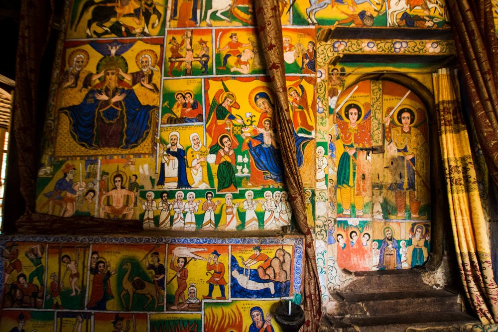 Frescos depicting the life of Christ at the Lake Tana Monasteries.