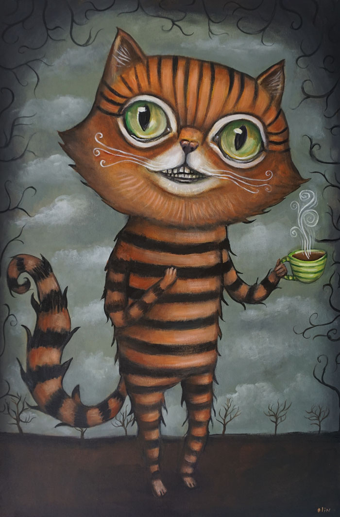 "Cheshire Cat, 24"" x 36"", acrylic (sold)"
