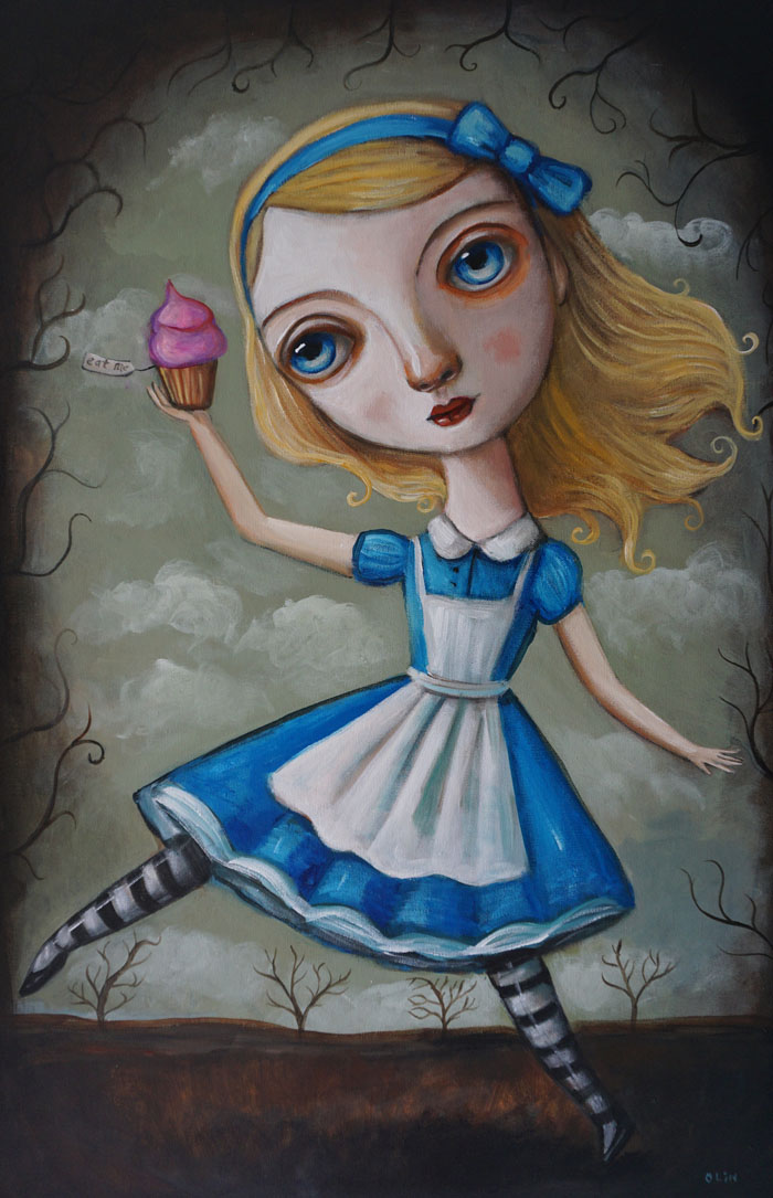 "Alice in Wonderland, 24"" x 36"", acrylic (sold)"