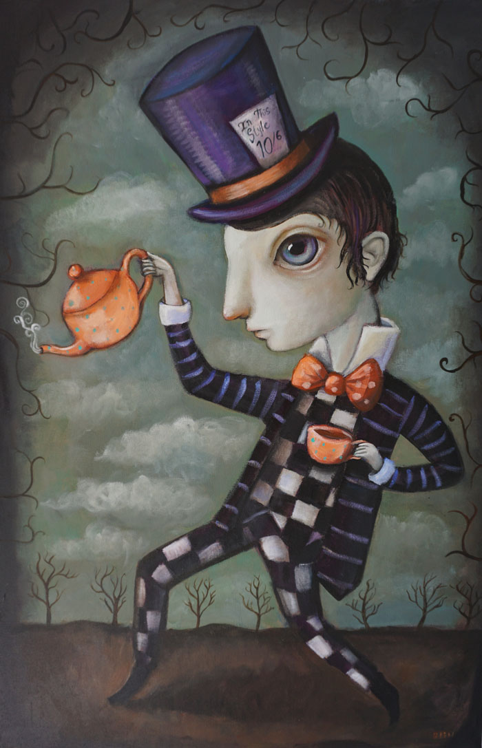 "Mad Hatter, 24"" x 36"", acrylic (sold)"