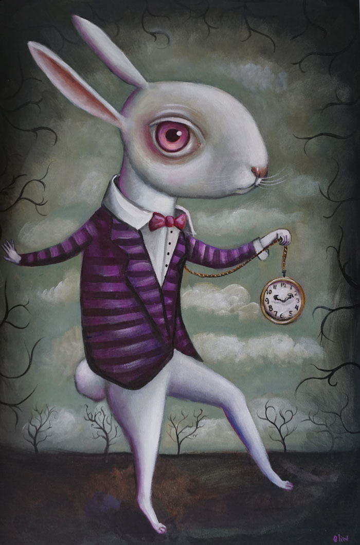 "White Rabbit, 24"" x 36"", acrylic (sold)"
