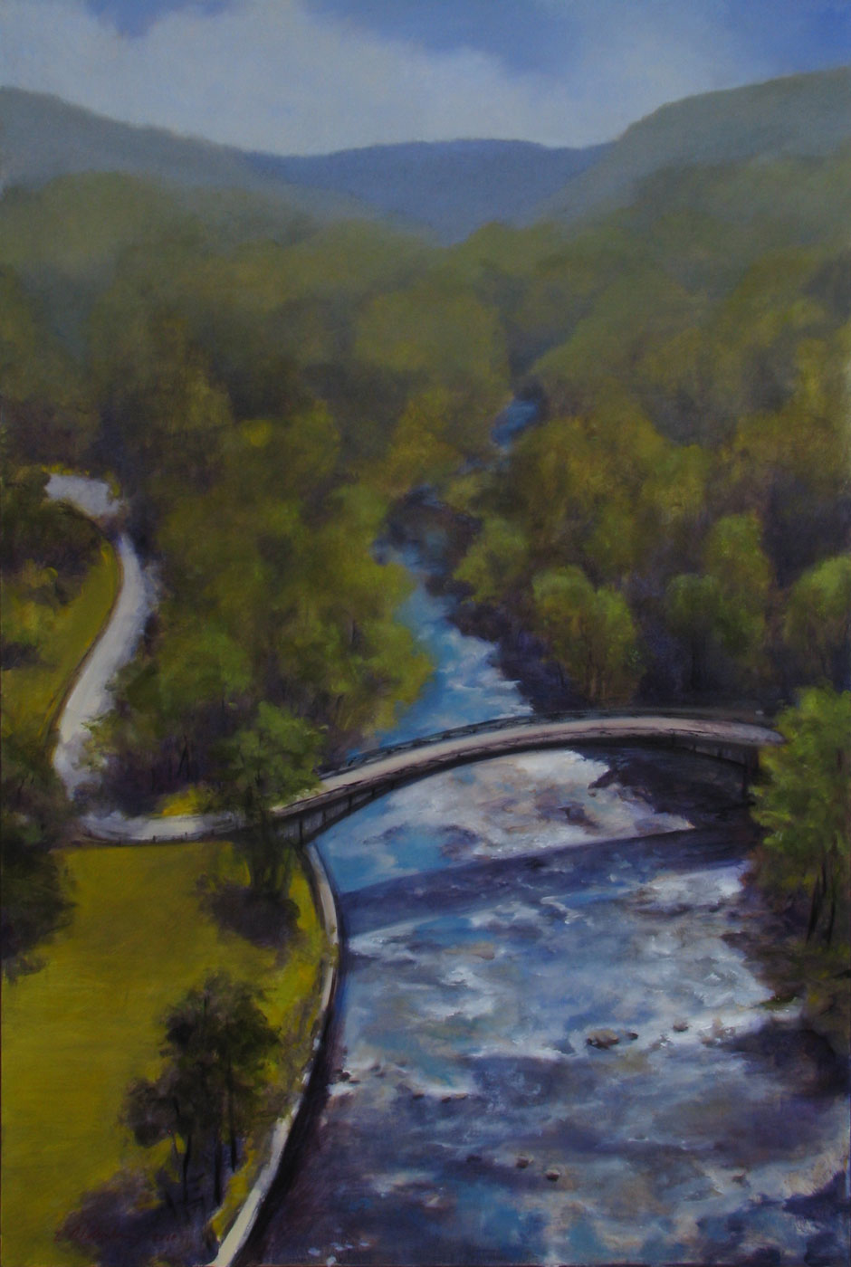 Croton River from Croton Dam, oil on birch ply, 24 x 36""