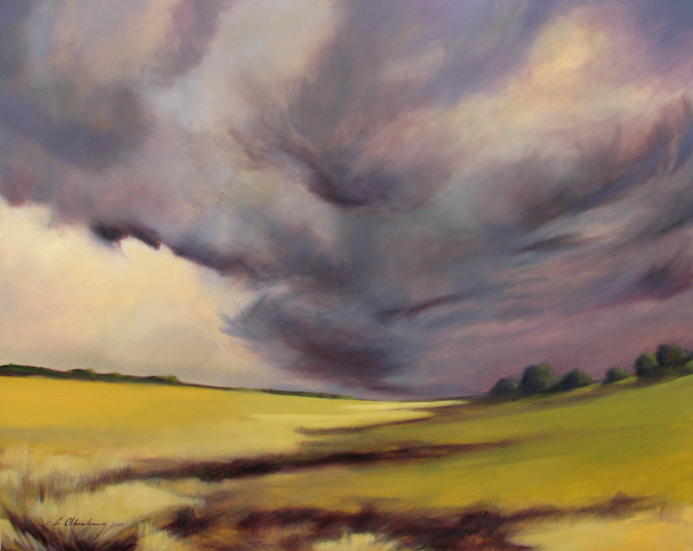 Storm over Admire, oil on canvas, 48 x 60""