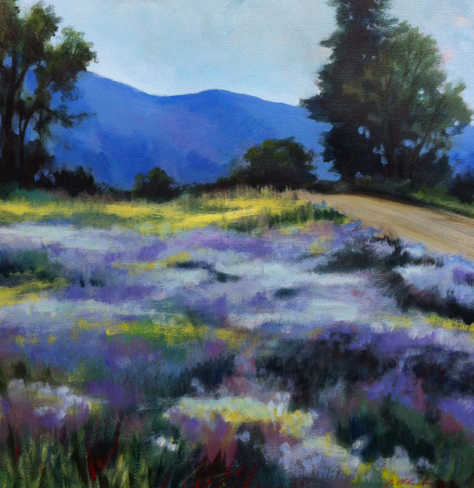 Aster Meadow, acrylic on paper, 18x18""