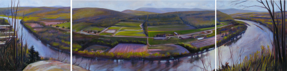 The Oxbow from Wyalusing Rocks, oil on canvas, Triptych  24 x 24""