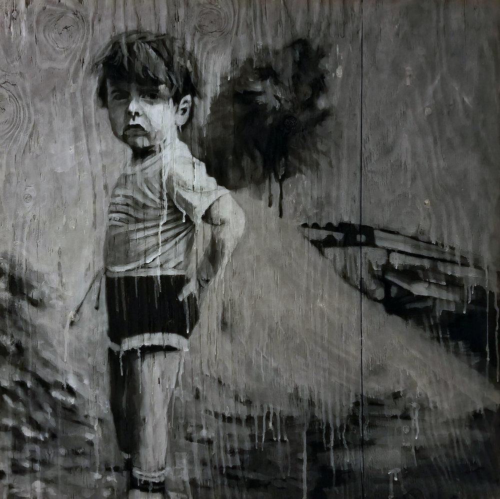"""Tom Pazderka, """"Anamnesis,"""" oil, ash and charcoal on burned panel, 36"""" x 36"""""""