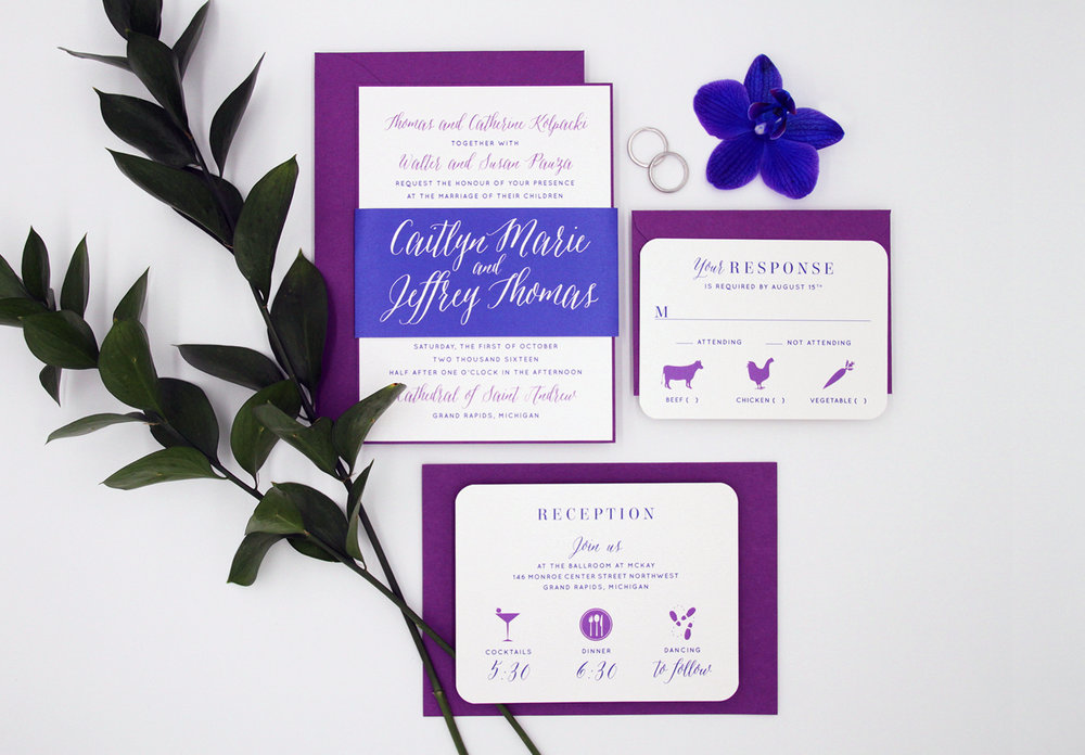 Layered invitation with bellyband, reception card and response card. Flat printed in royal blue and beet ink on white pearlized paper. Beet envelopes.