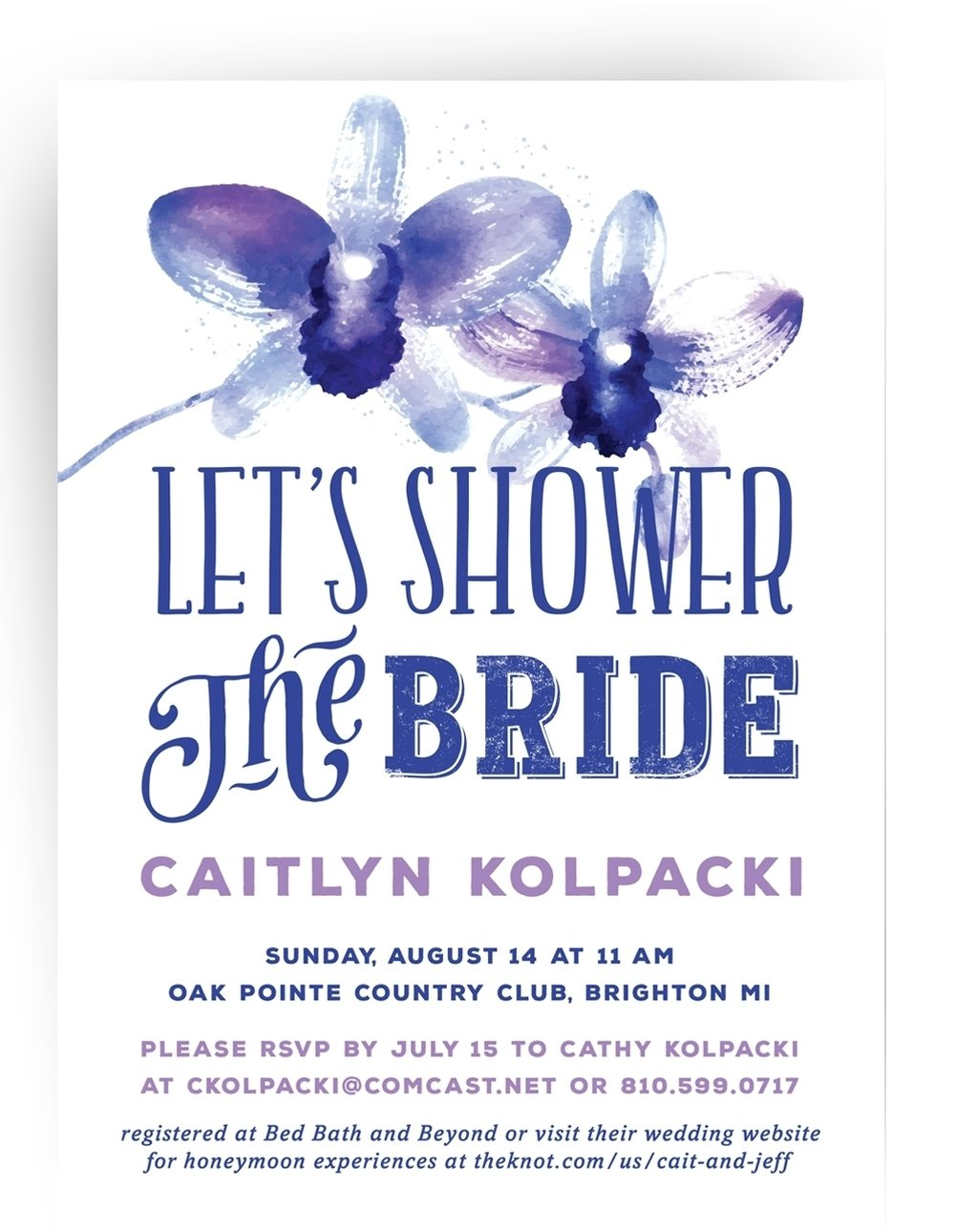 Watercolor orchids bridal shower invitation printed on double thick ultra white paper.