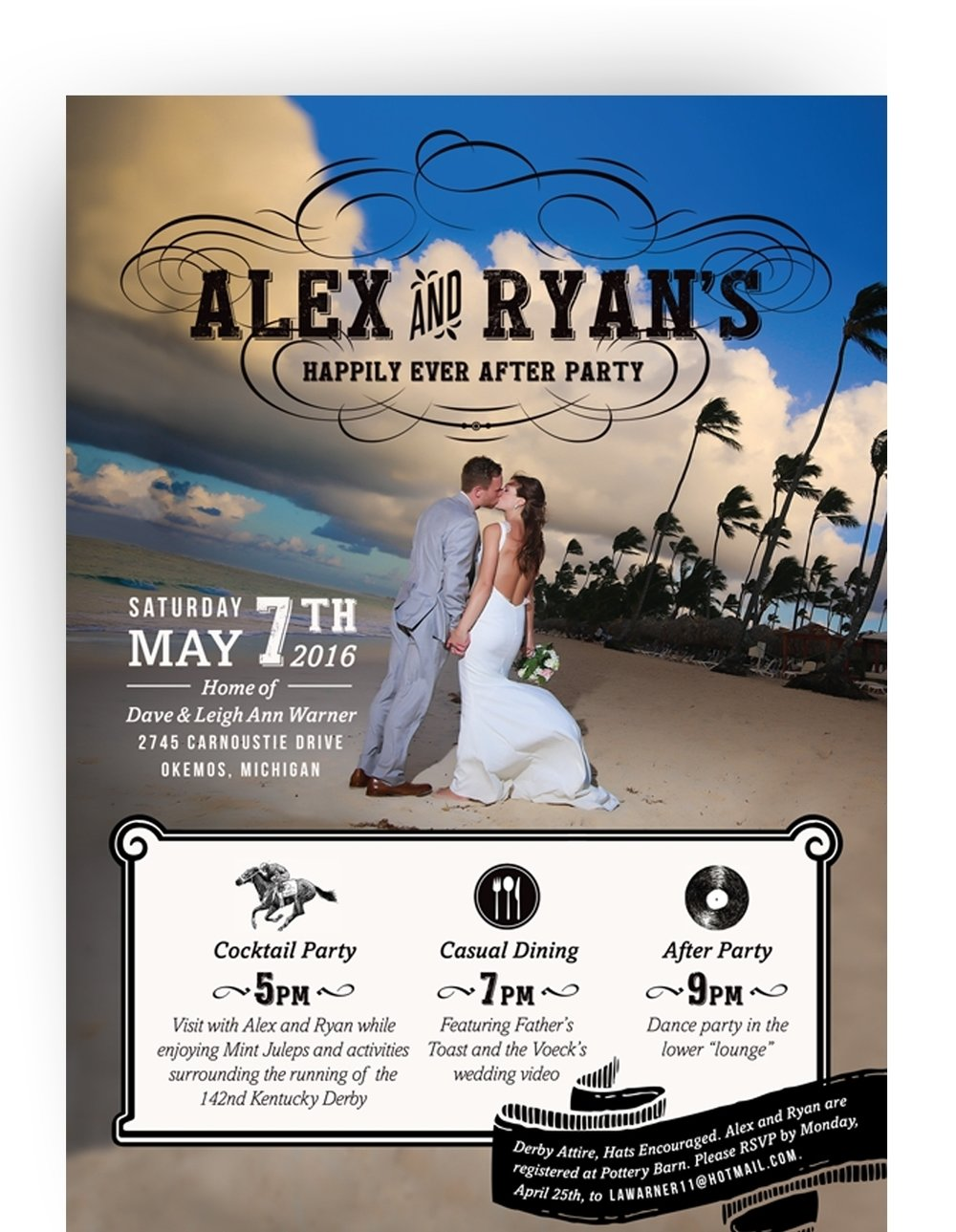 Happily ever after party invitation printed on double thick soft white paper.