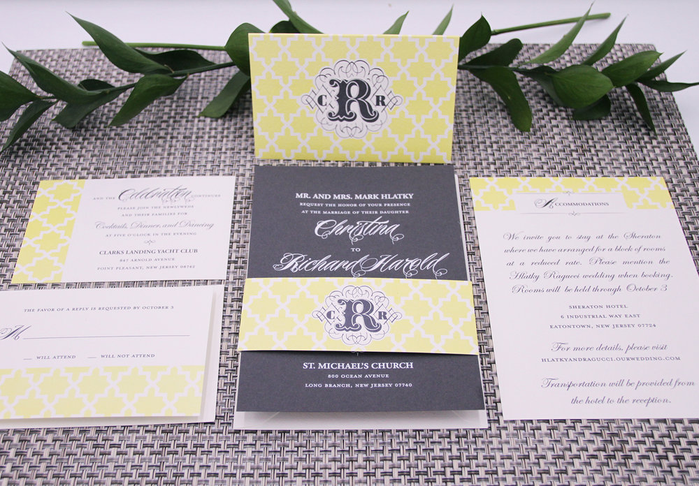 Engraved wedding invitation with custom monogrammed bellyband.