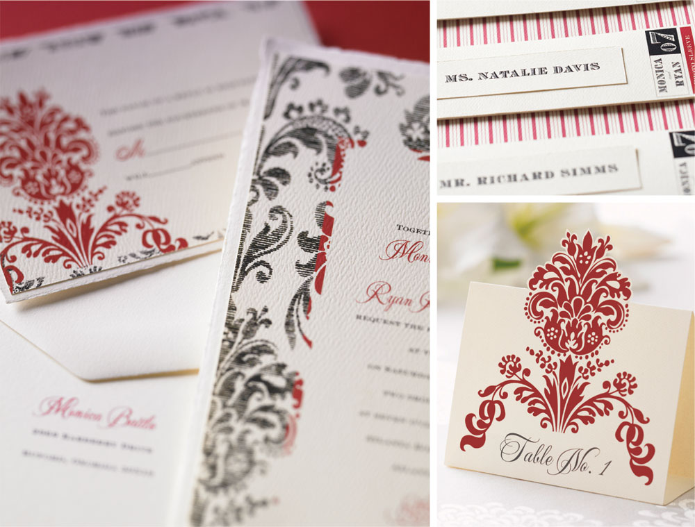 Vintage damask wedding invitation, response card, photo sleeve and table card. Flat printed in red and black ink on soft white felt weave paper.