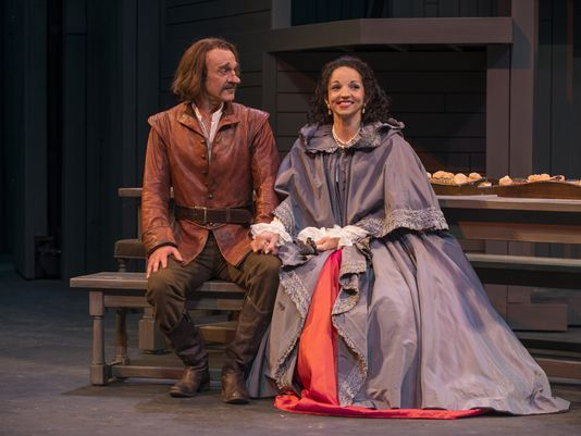 James Ridge as Cyrano and Laura Rook as Roxane in Cyrano de Bergerac at APT.