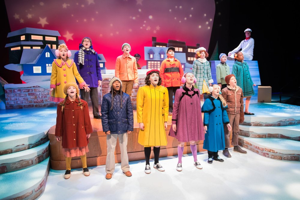 Jack Forbes Wilson, Matt Daniels, and cast in  A Charlie Brown Christmas , First Stage Photo by Paul Ruffolo.