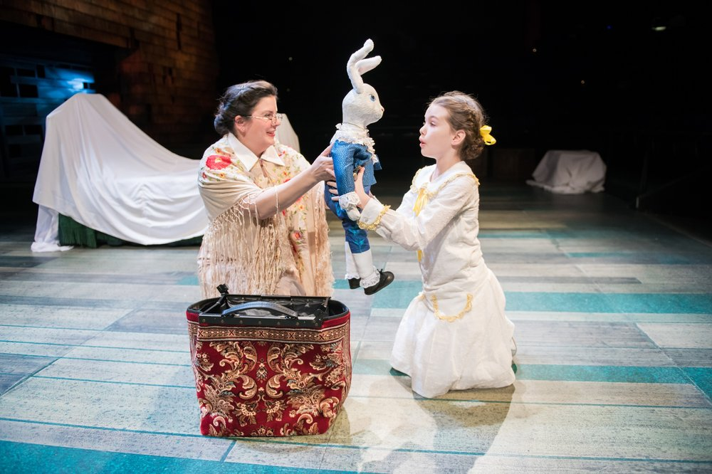 "Karen Estrada and young performer Marianna Malinkine in First Stage's ""The Miraculous Journey of Edward Tulane."" Photo by Paul Ruffolo."
