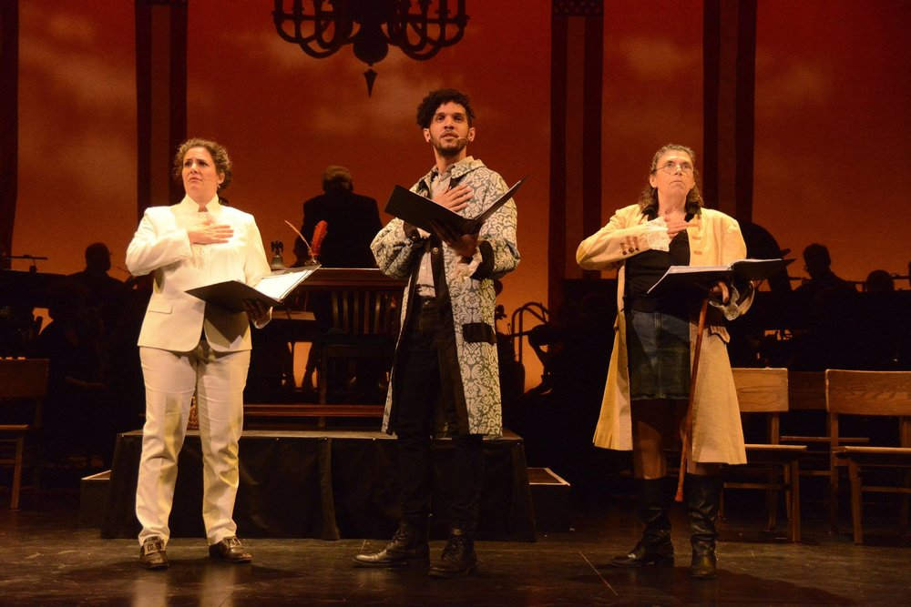 Clare Arena Haden , Maurice Goodwin and  Amy L. Welk in Four Seasons Theatre's 1776. Photo by Mike Brown.