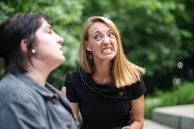 As the shrewish Katherine, Sarah Z. Johnson bears her teeth.