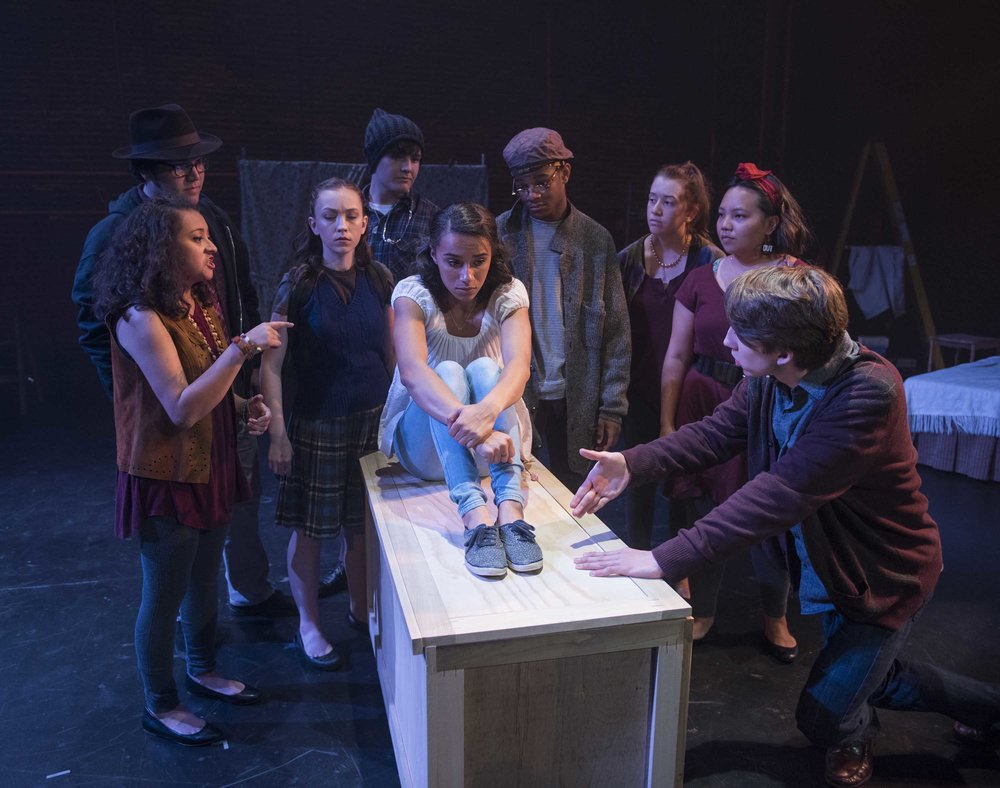 Milwaukee Repertory Theater's Professional Training Institute Ensemble presents the World Premiere of  Lost Girl by Kimberly Belflower in the Stiemke Studio from July 19 to July 22, 2018. Left to Right:Juliana Garcia-Malacara,Logan Muñoz, Meguire Hennes,Dominic Schiro,Reese Parish, Durran Goodwin Jr, Maricella Kessenich,Mainyia Xiong, and Bradley Nowacek.Photo by Michael Brosilow