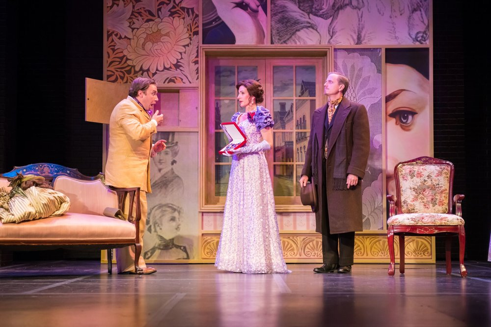 Rick Pendzich as Oscar Wilde, Kay Allmand as Lillie Langtry and Ryan Schabach as Dr. Watson. Photo by Paul Ruffolo.