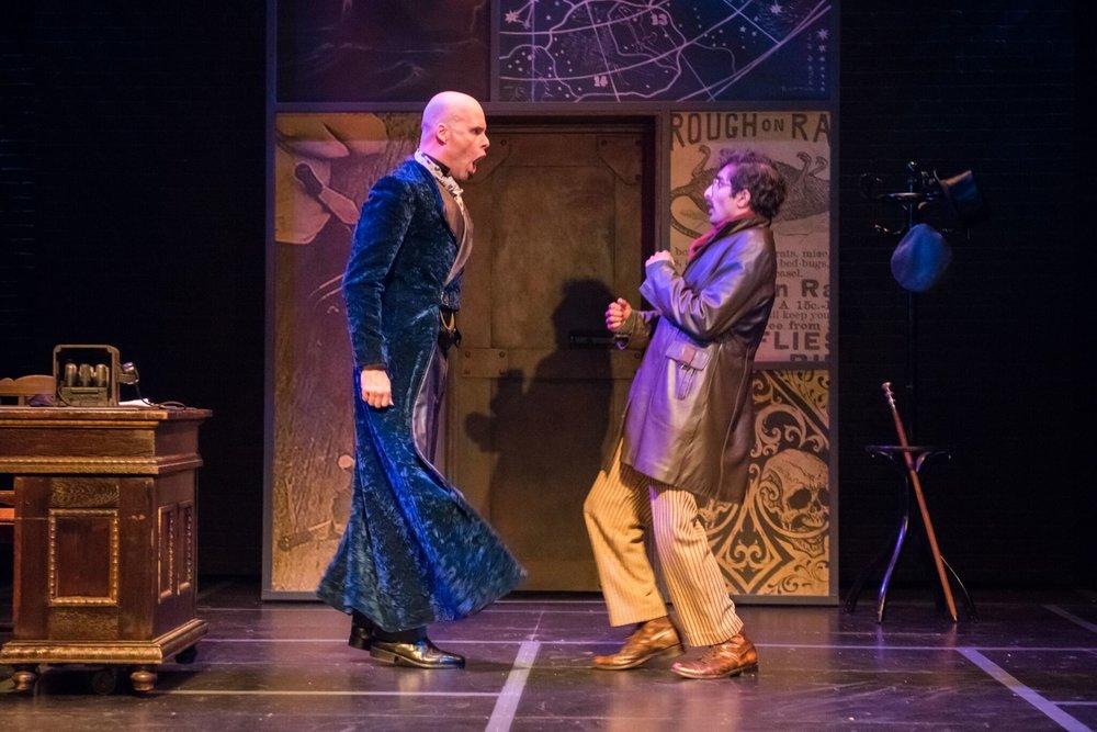 Matt Daniels as Moriarty and Jesse Bhamrah as John Smythe. Photo by Paul Ruffolo.