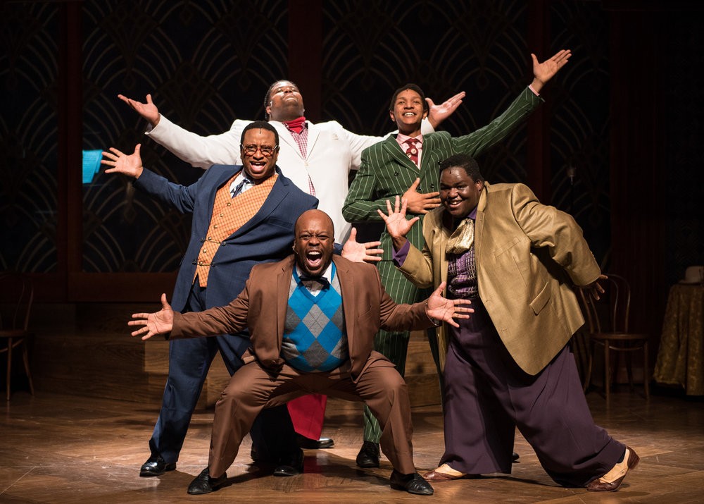 (clockwise from the left) James Carrington (Four-Eyed Moe), Lorenzo Rush Jr. (Big Moe), Sean Anthony Jackson (Eat Moe), Kevin James Sievert (Little Moe) and Shawn Holmes (No Moe) in rehearsal for Skylight Music Theatre's production of  Five Guys Named Moe  January 25 – February 10.   Photo by Ross Zentner.