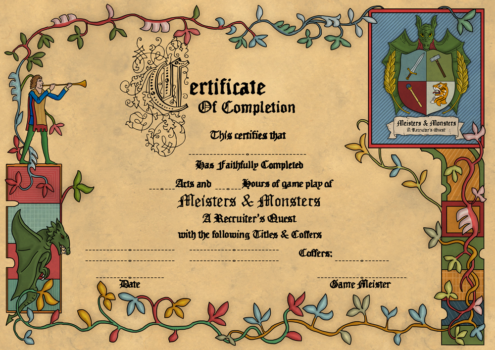 One of the advanced features of the game (included at purchase) is issuing certificates to players after they have completed training through the Full game.  This is a nice way to close the loop on a program and have a bit of fun with nicknames or titles earned in the game.