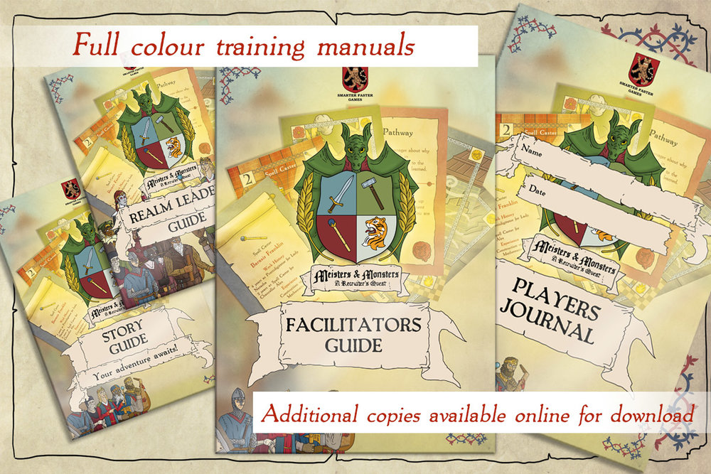 Training guides - Each copy of the game ships with a Facilitators Guide, Six Player Journals, a Realm Leaders Guide, and a Story Guide.Additional copies of the Players Journal are available online.