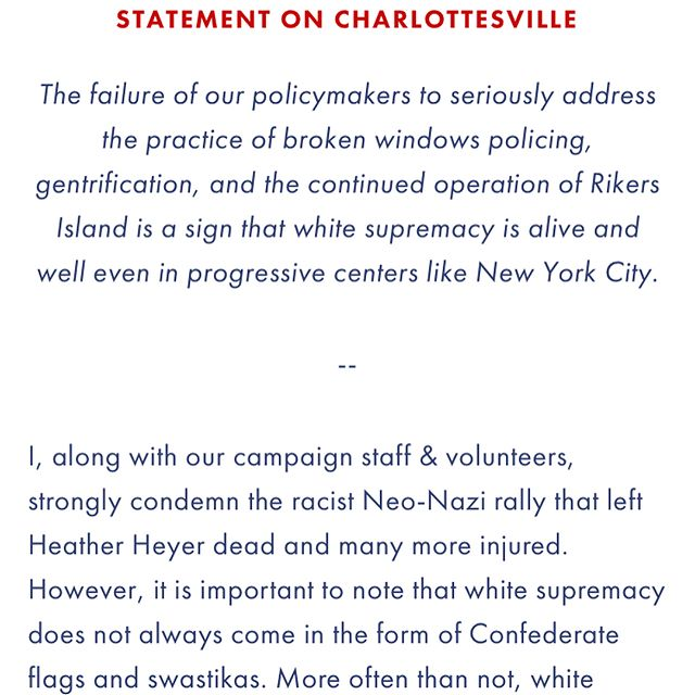 Statement on Charlottesville | White Supremacy in NYC