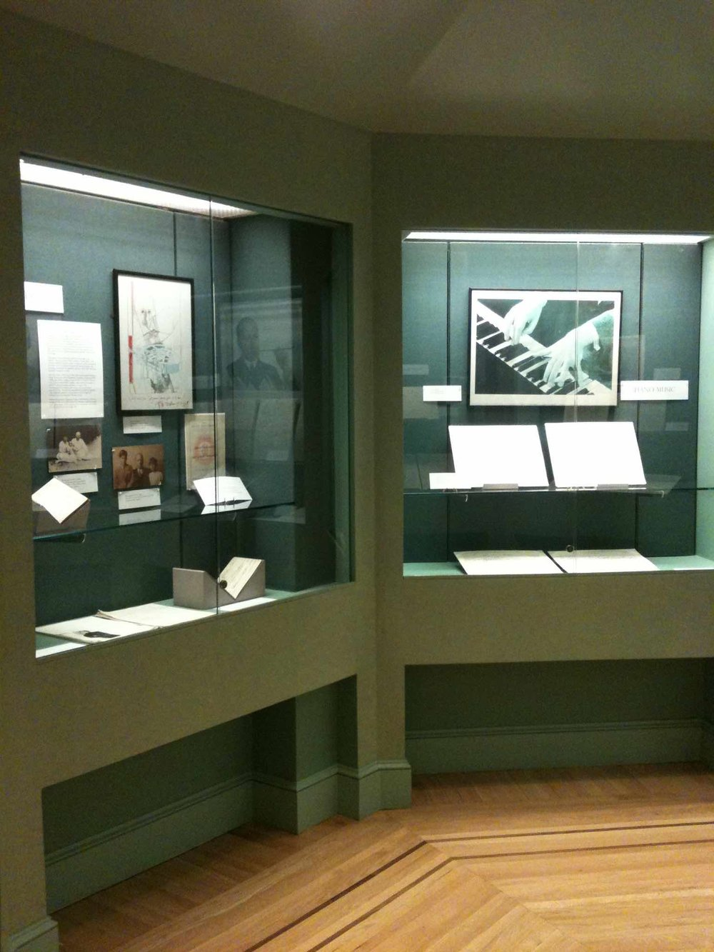 Exhibit,  Selections from the Serge Prokofiev Archive, ( 2015), Rare Book & Manuscript Library at Columbia, Photo courtesy of Jennifer B. Lee, Curator of the Performing Arts Collection,