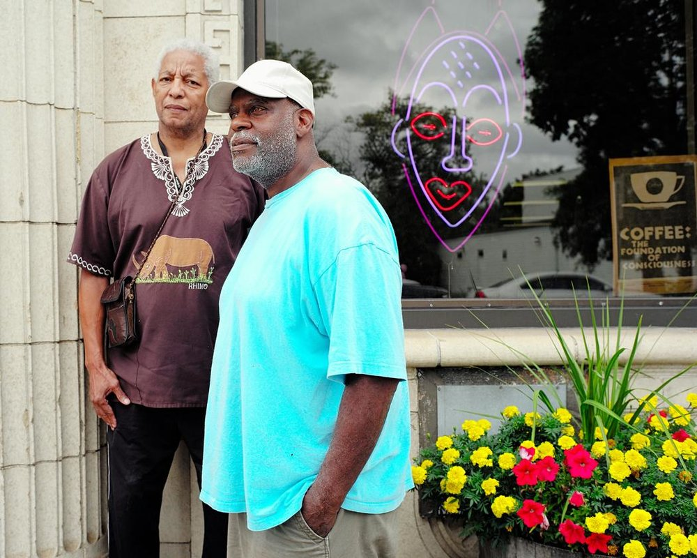 """Bradley Thurman is 67 and the proprietor of Milwaukee's Coffee Makes You Black, which provides a spot in the community where people feel comfortable to network and communicate. ""I think society has regressed to Jim Crow. [Obama came in eight years ago, but we still] haven't gained any ground. In a way, we have lost ground. When I graduated from high school, there was riots in the streets. I'm 67 years old, and there are still riots in the streets. The institutions are still preventing us from [owning the system]. So I am not surprised to see the young people rebel."