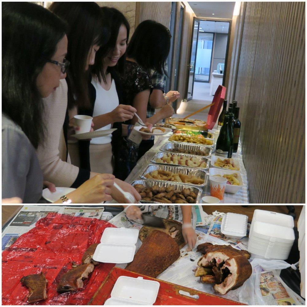 (同事們熱烈愉快地享受當日的美味食物,當然不可缺少的大展雄圖燒豬)