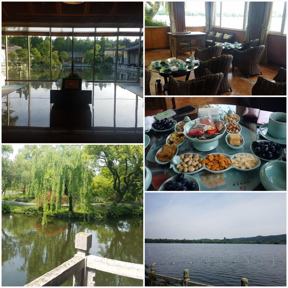 (左上︰国宾馆; 左下︰湖畔景色; 右上︰湖畔茶居; 右中︰小食 ; 右下︰西湖景色)