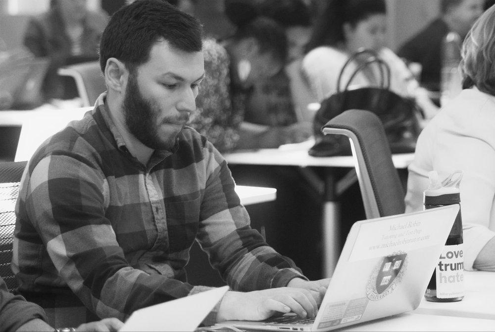 Script Anatomy alumnus Michael Robin takes notes.