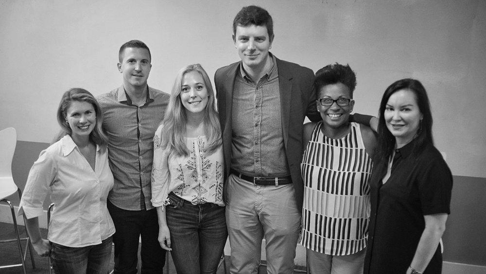 Katy McCaffrey (GERSH), Matt Baldovsky (UTA), Katt Riley (Kaplan Stahler), Matt Snow (Paradigm), Karyn Smith-Forge (Verve), and Script Anatomy Founder Tawnya Bhattacharya