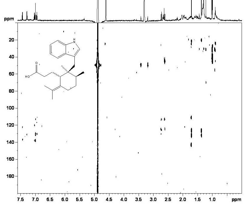 HMBC on 2 micrograms of a novel indoloesesquiterpene from Greenwayodendron suaveolens