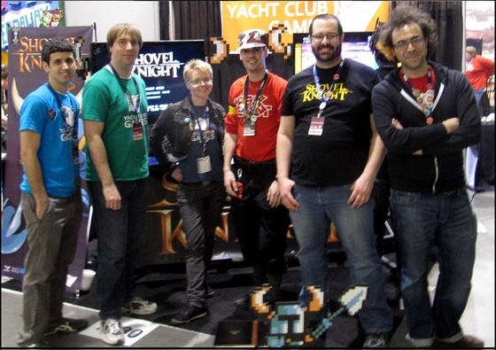 "Yacht Club Games at PAX East 2013. Image taken from the game's Kickstarter in Update #2 ""We're back from PAX!"" Nick Wozniak is second from the right-hand side. Ian Flood is second from the left-hand side."