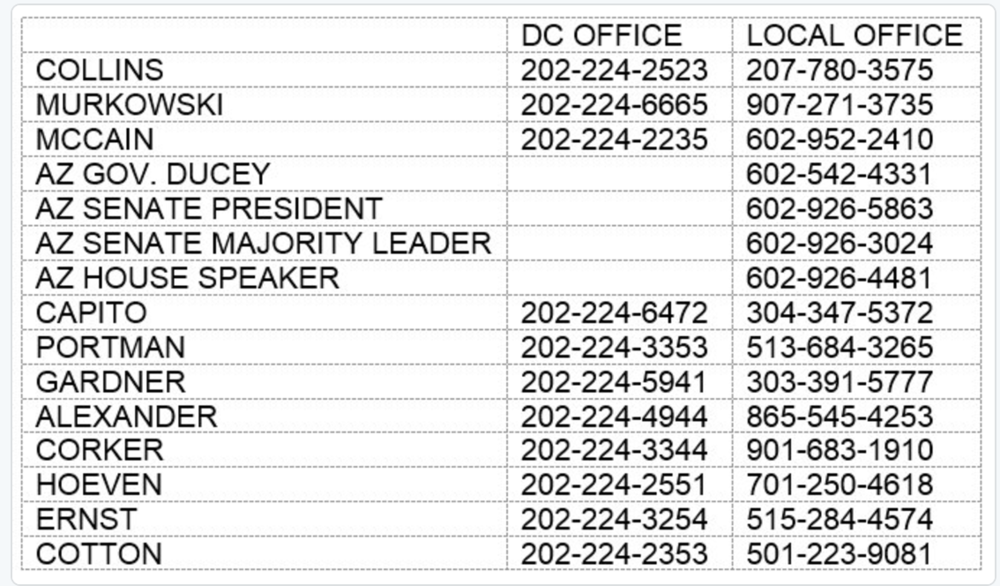 THESE ARE THE SENATORS TO CALL TODAY!