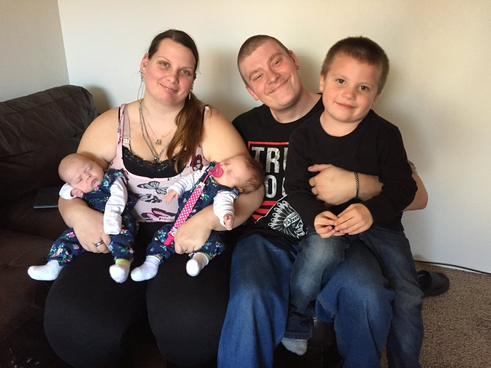 Left to right: Shyanne Christopherson and Mike Herron, along with their children, Iris, Athena and Daryl.