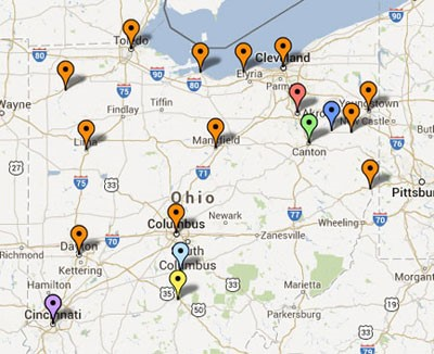 Figure 1. Map of some of the common asbestos exposure sites in Ohio.