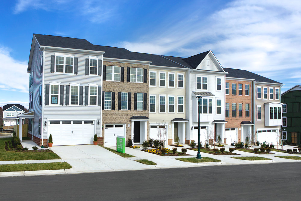 Exterior of townhouse in Embrey Mill for Miller & Smith